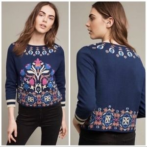 HWR Anthropologie Intarsia Floral Sweater